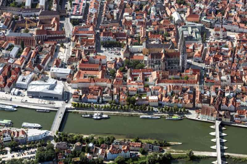 City view on the river bank of the river Danube in Regensburg in the state Bavaria, Germany