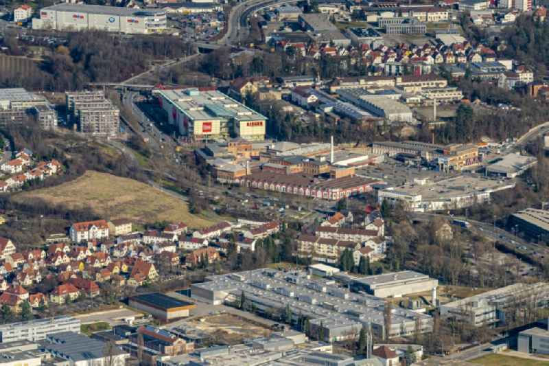 Mixing of residential and commercial settlements in Reutlingen in the state Baden-Wurttemberg, Germany.
