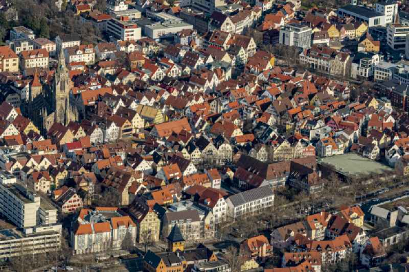 Old Town area and city center in Reutlingen in the state Baden-Wurttemberg, Germany.