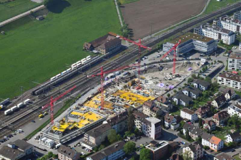 Construction site for City Quarters Building ' Furnierwerk ' with housing and commercial units in Rheinfelden, canton Aargau, Switzerland. Further information at: Implenia AG.