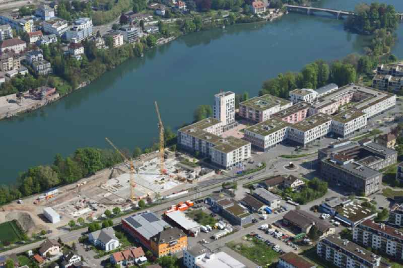 Expansion of the residential and commercial building district Salmenpark at the river Rhine in Rheinfelden in the canton Aargau, Switzerland.