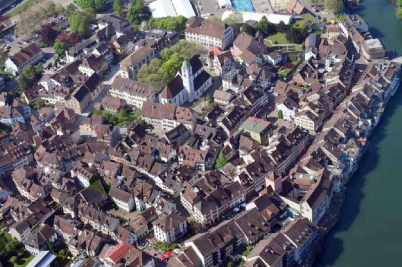 Old Town area and city center at the river Rhine in Rheinfelden in the canton Aargau, Switzerland.