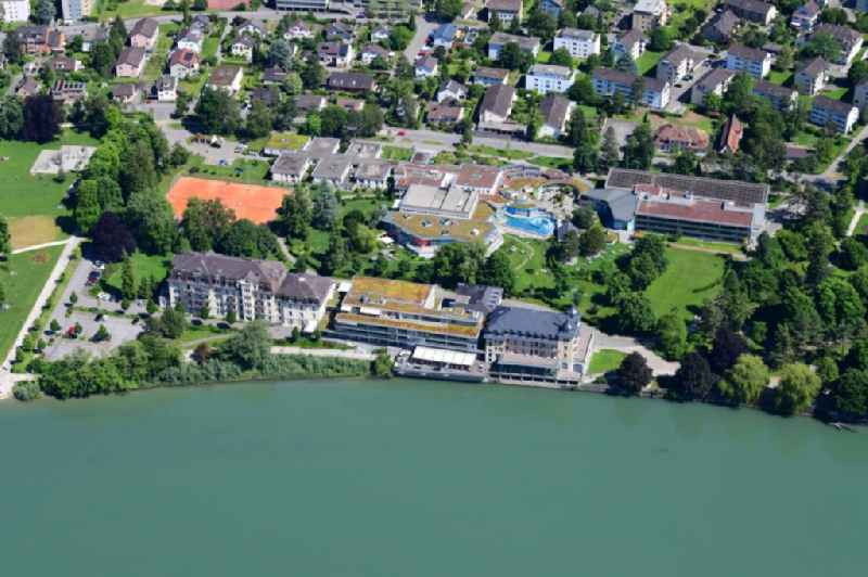 Hospital, spa and swimming pools at the Rhine river of the leisure and Wellness facility in Rheinfelden in the canton Aargau, Switzerland.