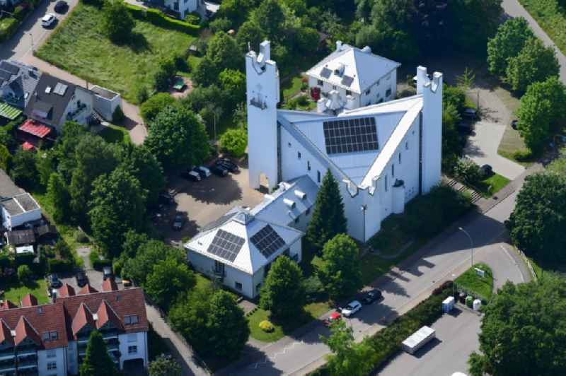 Modern catholic church building St. Michael in the district Karsau in Rheinfelden in the state Baden-Wurttemberg, Germany.