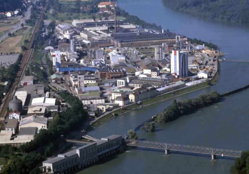 Structure and dams of the former hydroelectric power plant of Energiedienst AG and the chemical plant EVONIK at the river Rhine in Rheinfelden (Baden) in the state Baden-Wurttemberg, Germany.