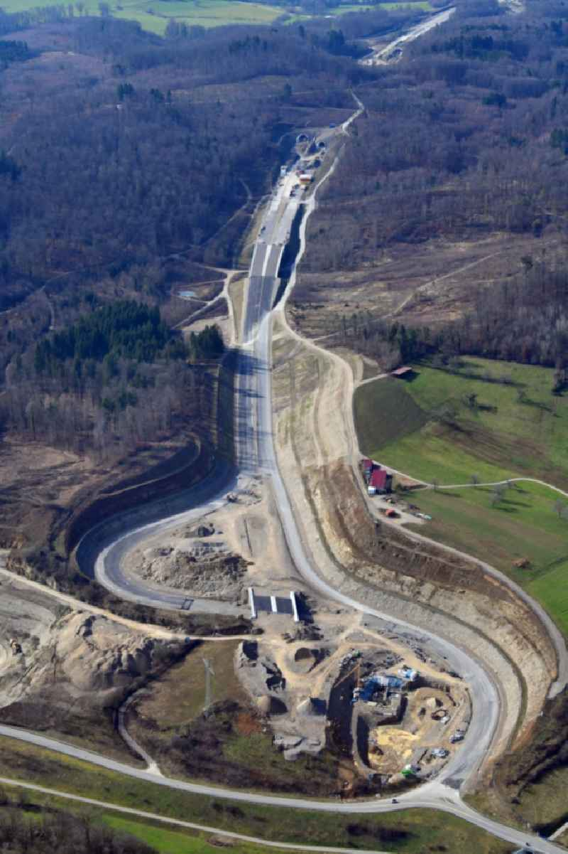 End of the highway- construction site with earthworks on the route of the highway A98 at the motorway access Rheinfelden-East in Rheinfelden (Baden) in the state Baden-Wurttemberg, Germany.