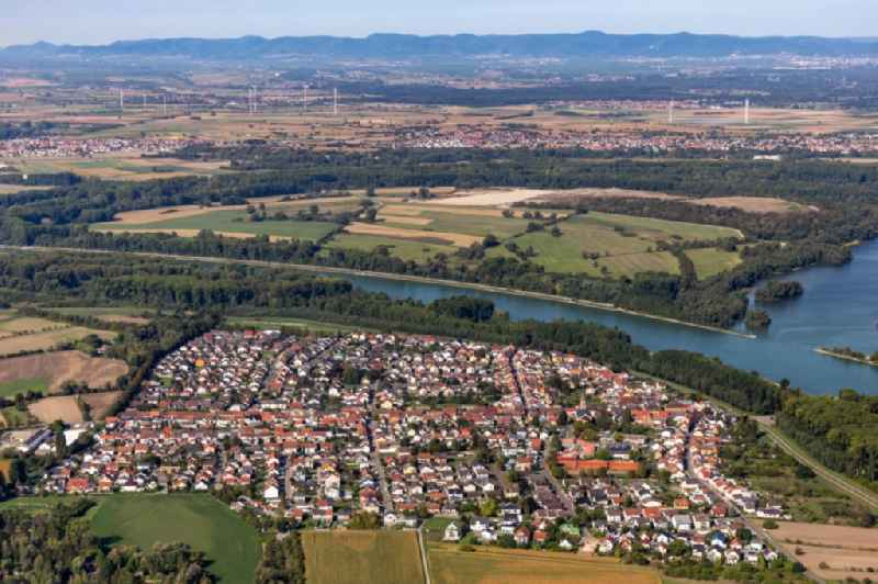 Town on the banks of the river of the Rhine river in Rheinhausen in the state Baden-Wuerttemberg, Germany
