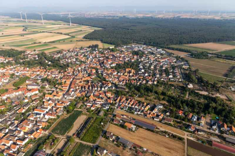 Village view on the edge of agricultural fields and land in Rheinzabern in the state Rhineland-Palatinate, Germany