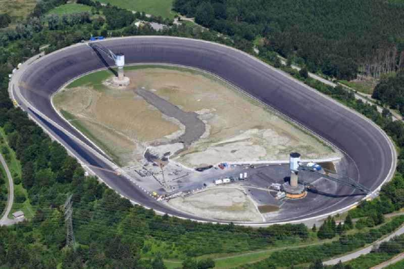 High storage reservoir Eggbergbecken in the district Egg of the village Rickenbach in the state Baden-Wurttemberg, Germany is rehabbed and cleaned. Situated on the high plateau of the Hotzenwald above the Upper Rhine valley near Bad Saeckingen.