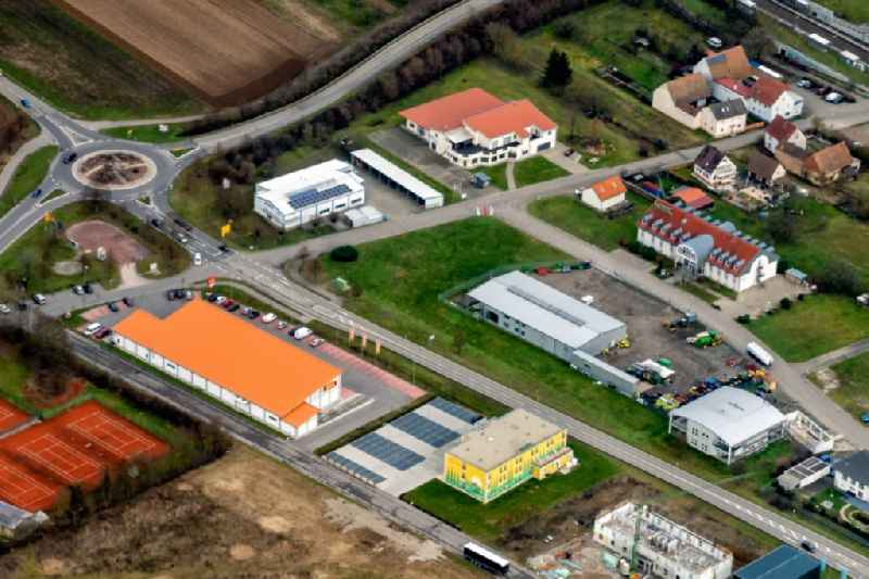 Industrial estate and company settlement in Ringsheim in the state Baden-Wurttemberg, Germany