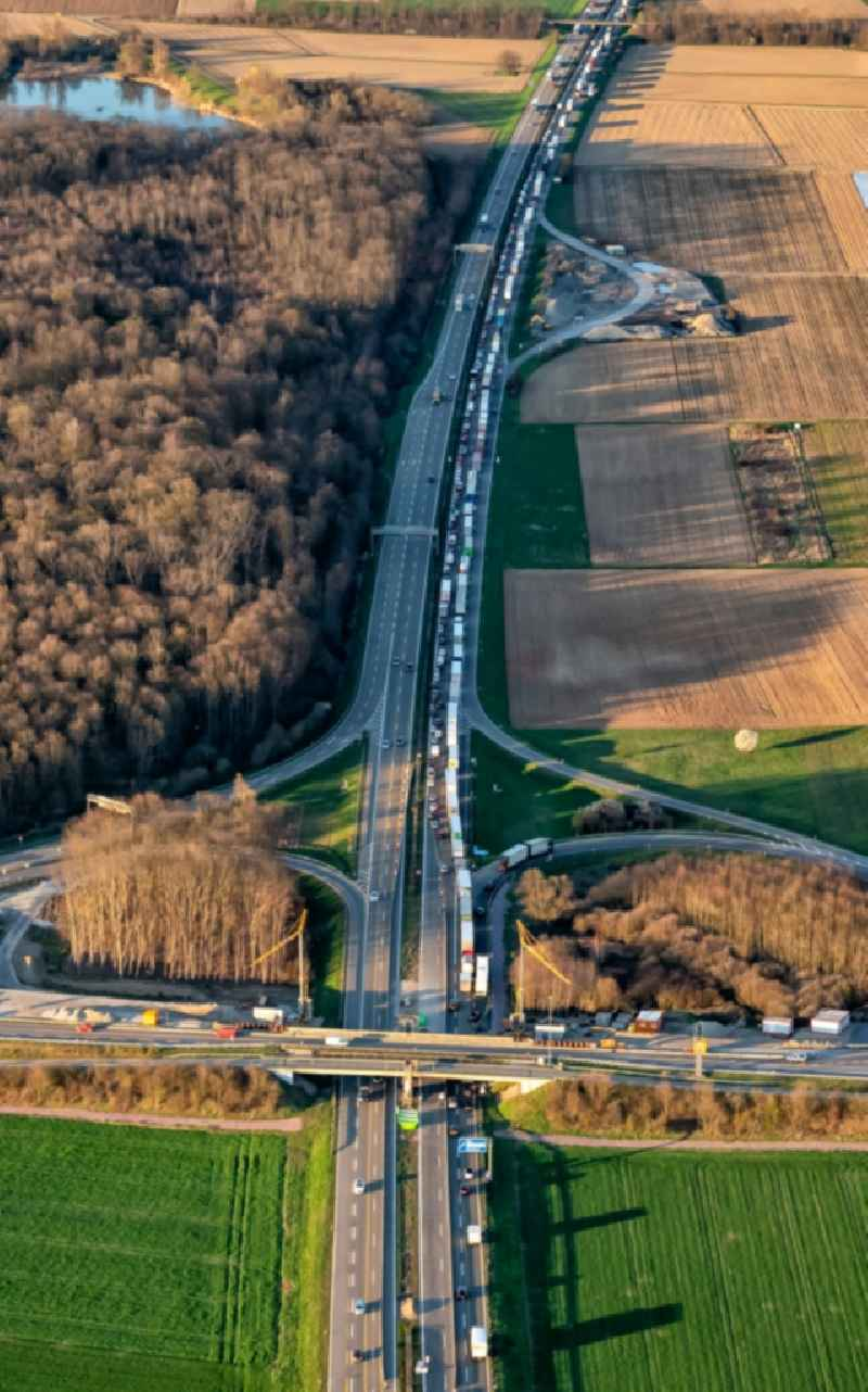 Highway congestion along the route of the lanes BAB 5 in Ringsheim in the state Baden-Wurttemberg, Germany