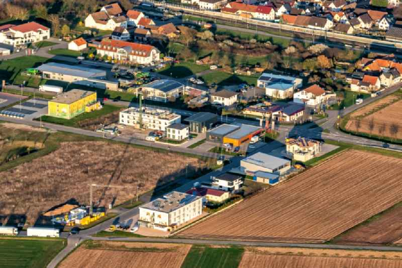 Mixing of residential and commercial settlements Im Leinenfeld in Ringsheim in the state Baden-Wurttemberg, Germany