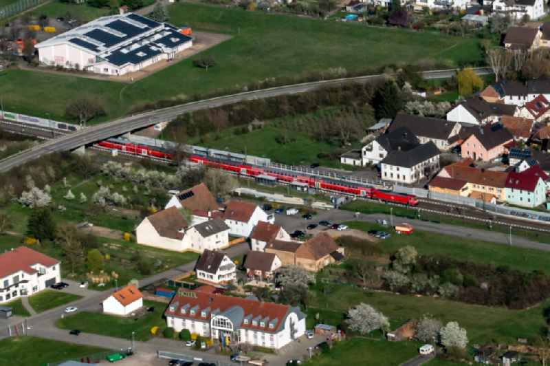 Station railway building of the Deutsche Bahn in Ringsheim in the state Baden-Wurttemberg, Germany