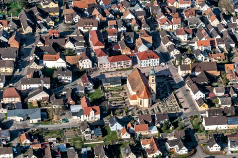 Town View of the streets and houses of the residential areas in Ringsheim in the state Baden-Wurttemberg, Germany
