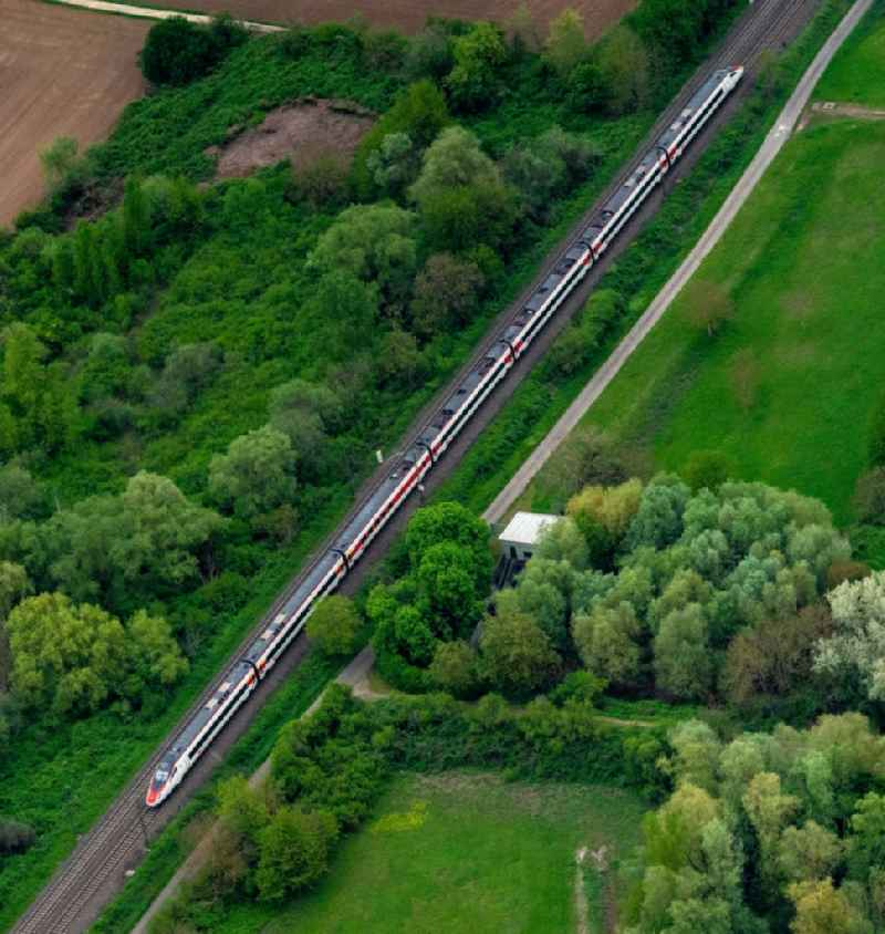 Ride a train on the track Rheintal in Ringsheim in the state Baden-Wurttemberg, Germany