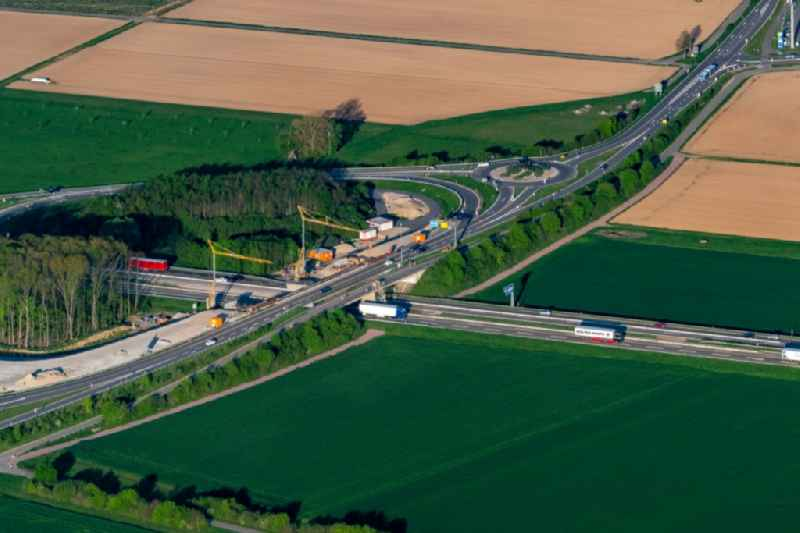 Construction site of routing and traffic lanes during the highway exit and access the motorway A 5 in Ringsheim in the state Baden-Wurttemberg, Germany
