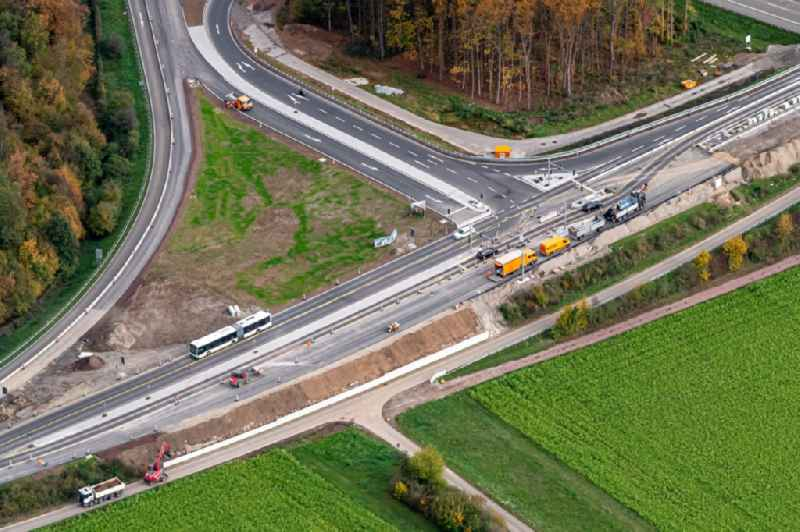 Construction site for the new building of Routing and traffic lanes over the highway bridge in the motorway A A5 Ausfahrt Rust Ringsheim in Ringsheim in the state Baden-Wurttemberg, Germany