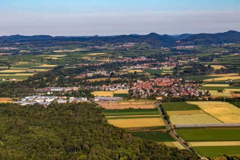 Village - view on the edge of agricultural fields and farmland in Rohrbach in the state Rhineland-Palatinate, Germany
