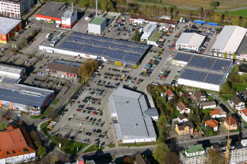 Commercial area and company settlement 'West-Aicherpark' on Georg-Aicher-Strasse in Rosenheim in the state Bavaria, Germany