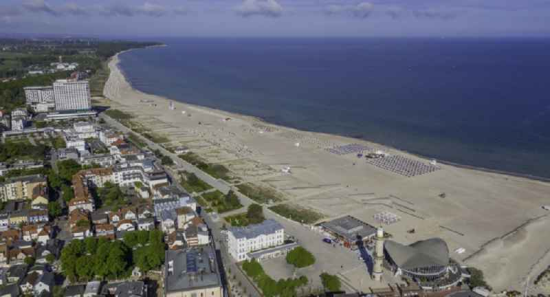 Beach landscape along the of Baltic Sea in the district Warnemuende in Rostock in the state Mecklenburg - Western Pomerania, Germany