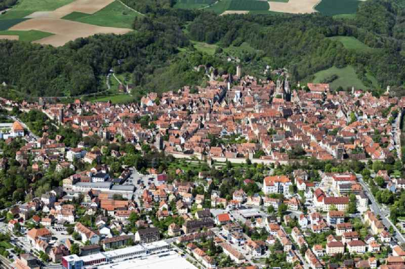 City area with outside districts and inner city area in Rothenburg ob der Tauber in the state Bavaria, Germany