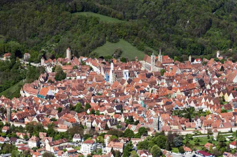 City view on down town in Rothenburg ob der Tauber in the state Bavaria, Germany