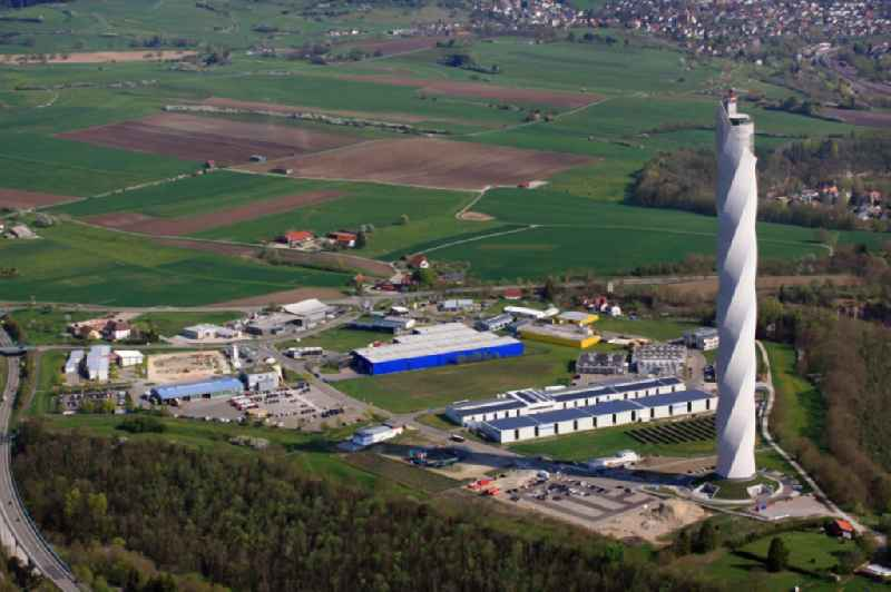 Site of the ThyssenKrupp testing tower for Speed elevators in Rottweil in Baden - Wuerttemberg. When finished the new landmark of the town of Rottweil will be the tallest structure in Baden-Wuerttemberg. Further information at: Bitschnau Gleit & Schalungstechnik GmbH,  Ed. Zueblin AG,  IGL Ing. Ges. Gemmer & Leber mbH,  Nagel Verwaltung & Logistik GmbH,  thyssenkrupp Aufzuege GmbH,  thyssenkrupp Elevator AG.