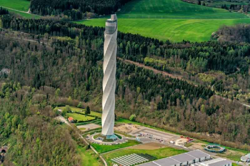 Site of the ThyssenKrupp testing tower for Speed elevators in Rottweil in Baden - Wuerttemberg. When finished the new landmark of the town of Rottweil will be the tallest structure in Baden-Wuerttemberg