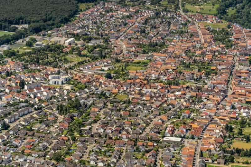 Town View of the streets and houses of the residential areas in Ruelzheim in the state Rhineland-Palatinate, Germany