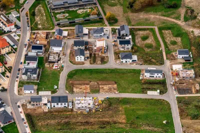 Residential area - mixed development of a multi-family housing estate and single-family housing estate in Rust in the state Baden-Wuerttemberg, Germany