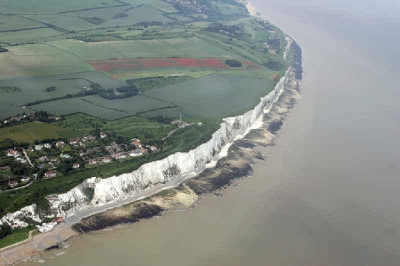 Saint Margaret's at Cliffe in Kent in England, United Kingdom. Also the famous white chalk cliffs which here form a part of the British coastline.