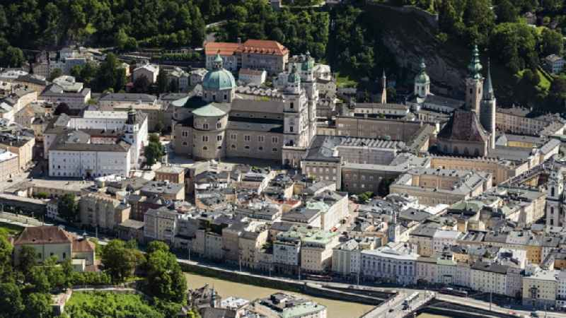 Church building of the cathedral in the old town in Salzburg in Austria