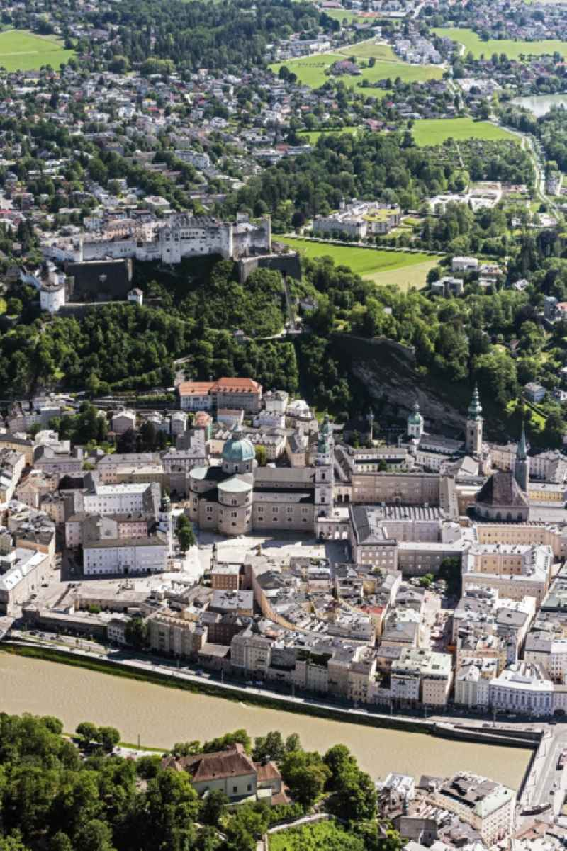 City view on the river bank of Salzach in Salzburg in Austria