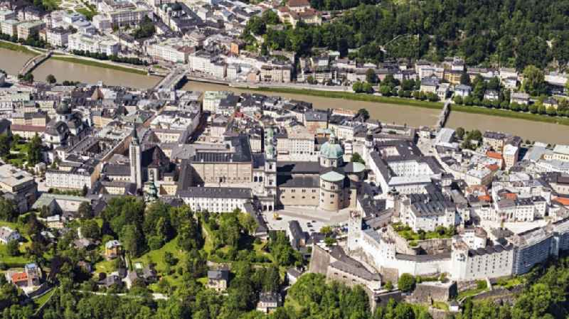 Old Town area and city center in Salzburg in Austria