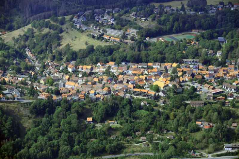 Surrounded by forest and forest areas center of the streets and houses and residential areas in Sankt Andreasberg in the state Lower Saxony, Germany.