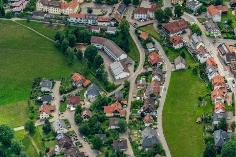 Village view on the edge of agricultural fields and land in Schwarzwald in Sankt Maergen in the state Baden-Wuerttemberg, Germany