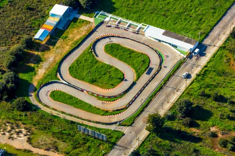 Racetrack racecourse 'Karting Cala Millor' for go-karts - go-carts - karts on Avinguda Llevant in Sant Llorenc des Cardassar in Balearische Insel Mallorca, Spain