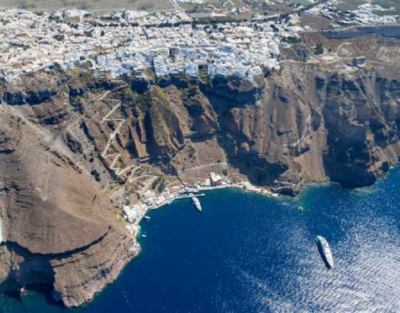 View of the main island of Thira, on the West coast of the archipelago of Santorini in Greece