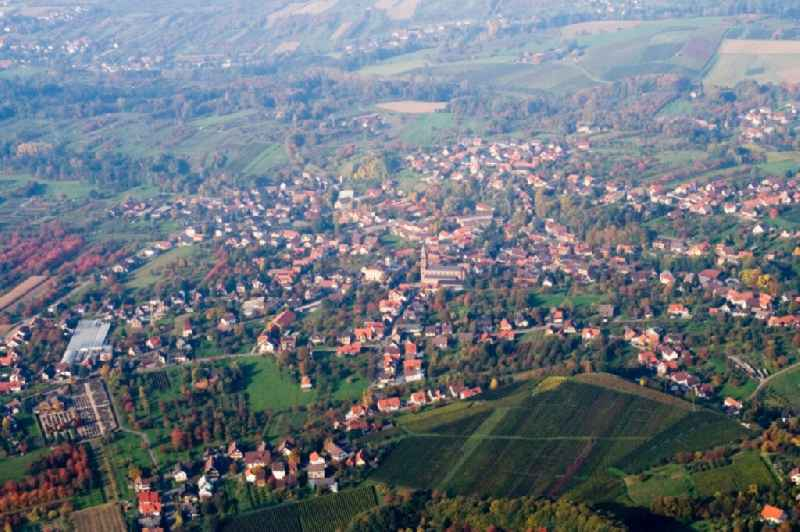 Village - view on the edge of agricultural fields and farmland in Sasbachwalden in the state Baden-Wuerttemberg, Germany