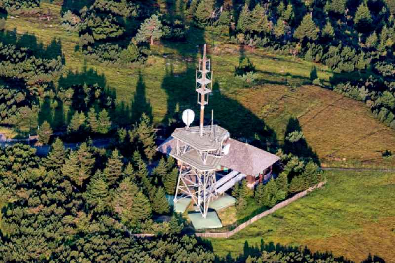 Radio tower and transmitter on the crest of the mountain range Hornisgrinde in Sasbachwalden in the state Baden-Wurttemberg, Germany