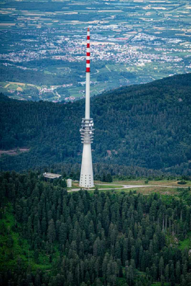 Television Tower of Suedwestrundfunk Sender Hornisgrinde on Hornisgrinoftrasse in Sasbachwalden in the state Baden-Wurttemberg, Germany