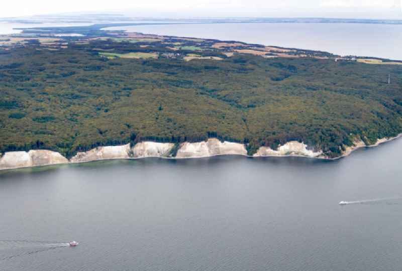 View of the chalk cliff coast in the National Park Jasmund near Sassnitz on the island Ruegen in Mecklenburg-West Pomerania.