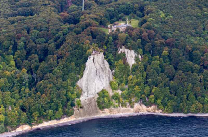 Chalk cliff Koenigsstuhl near Sassnitz on Ruegen Island in Jasmund National Park in the state Mecklenburg - Western Pomerania.