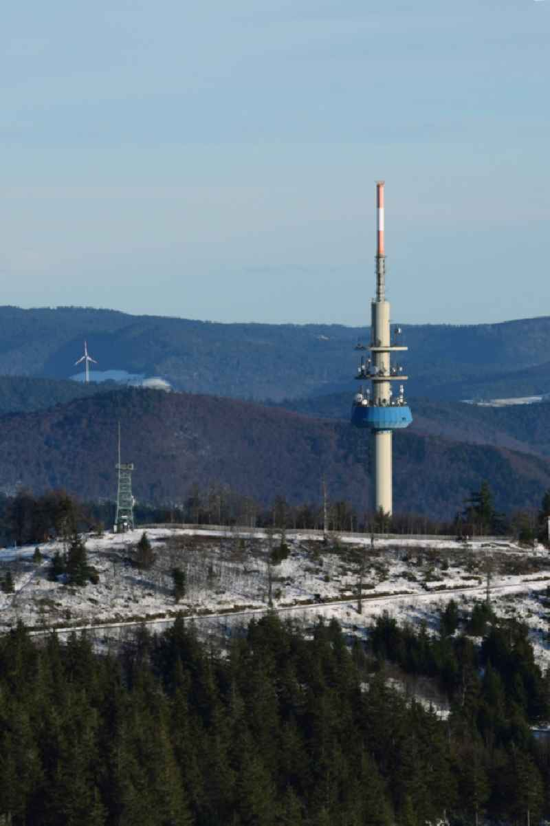 Funkturm and transmission system as basic network transmitter ' Sender Blauen ' in Schallsingen in the state Baden-Wurttemberg, Germany. Further information at: DFMG Deutsche Funkturm GmbH.