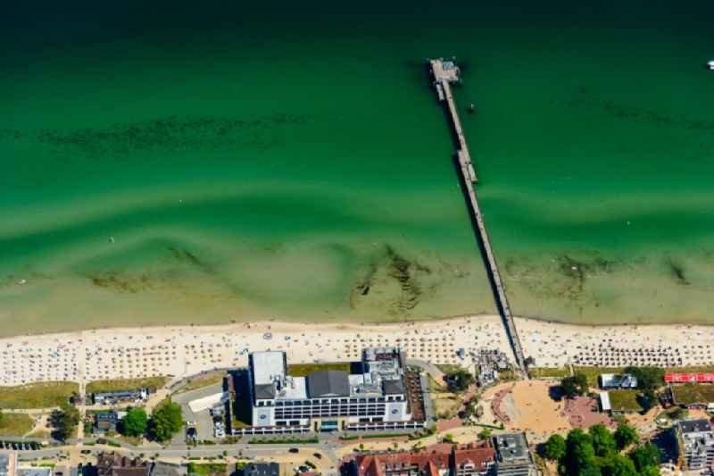 Running surfaces and construction of the pier over the water surface in Scharbeutz in the state Schleswig-Holstein, Germany