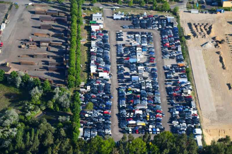 Parking and storage space for automobiles on Zeppelinring in Schenkendorf in the state Brandenburg, Germany.
