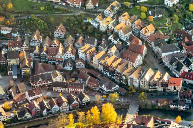 Town View of the streets and houses of the residential areas in Schiltach in the state Baden-Wurttemberg