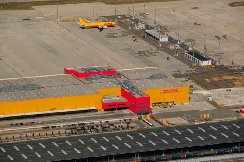 Check-in buildings and cargo terminals on the grounds of the airport on DHL Hub in Schkeuditz in the state Saxony, Germany