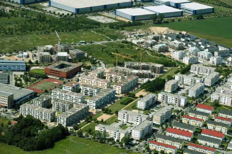 Residential area of the multi-family house settlement Bertold-Brecht-Allee - Bayangol-Park in Schoenefeld in the state Brandenburg, Germany