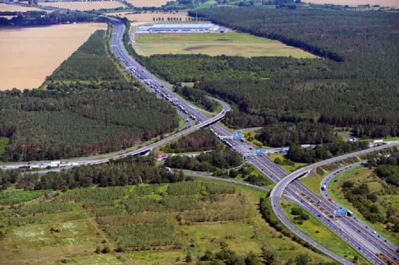 Traffic flow at the intersection- motorway A 10 - E36 Schoenefelder Kreuz in Schoenefeld in the state Brandenburg